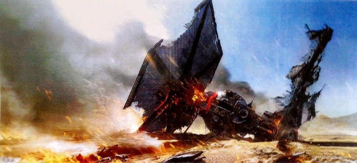 Leaked concept art of a crashed spacecraft resembling a TIE fighter.