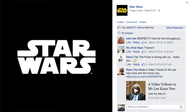 The official Star Wars Facebook account muted its logo in respect of Mr Lee Kuan Yew's passing earlier this year.