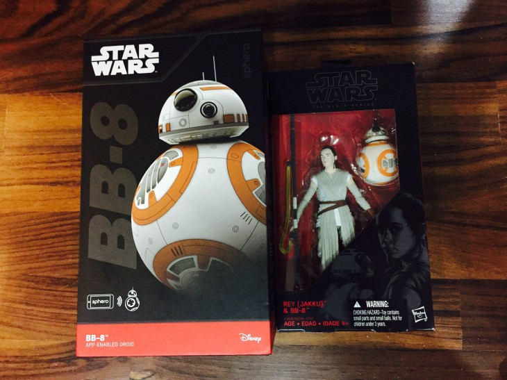 Purchases for the night: Sphero BB8 and Black Series Rey with BB8