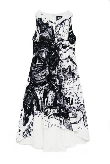 Darkside Sketch Dress (White)